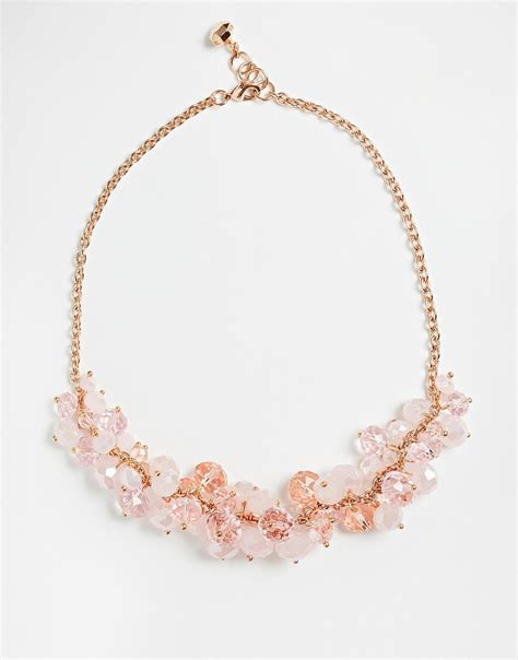 cluster bead necklace ted baker bead cluster necklace in metallic lyst