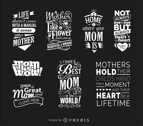 mothers day quotes vector set vector