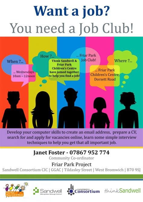 club flyer design jobs job club at friar park sandwell consortium
