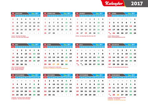 printable calendar 2017 indonesia download template kalender indonesia lengkap dengan hari