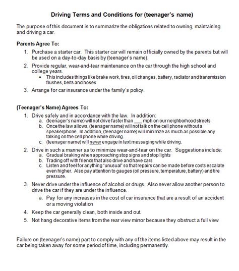 Agreement Letter For Driver driving contract for your new driver gordon