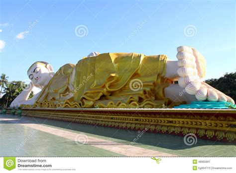 reclining buddha myanmar reclining buddha bago in myanmar stock photo image