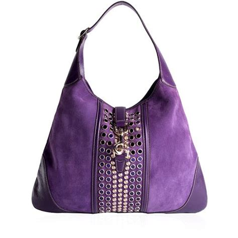 Gucci Purple Suede Bouvier Hobo by Gucci Suede Jackie O Bouvier Embellished Hobo Handbag