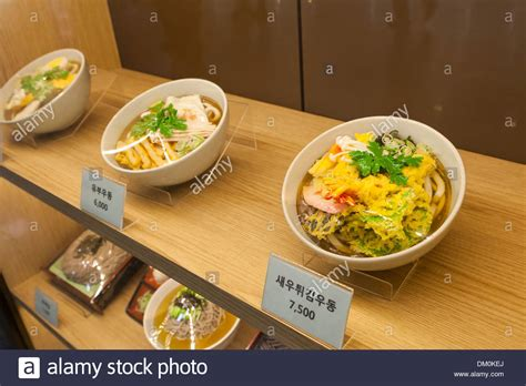 Bantal Snack Bantal Model Snack plastic food model display at fast food restaurant seoul stock photo royalty free image