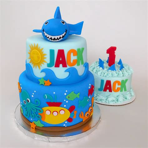 baby shark bday cake shark attack cake with matching smash cake decorated