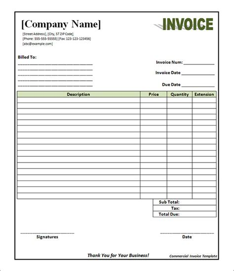 commercial invoice template excel 11 commercial invoice templates free documents
