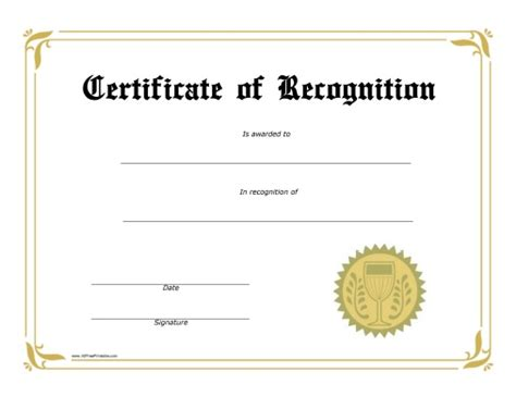 certificate award template free recognition award certificate free printable