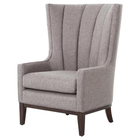 Grey Fabric Armchair by Vida Modern Classic Pewter Grey Fabric Wing Armchair