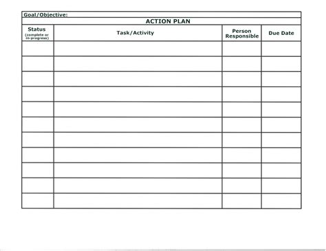 simple action plan template word exle featuring table