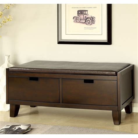 indoor storage benches furniture furniture of america revelle padded leatherette storage