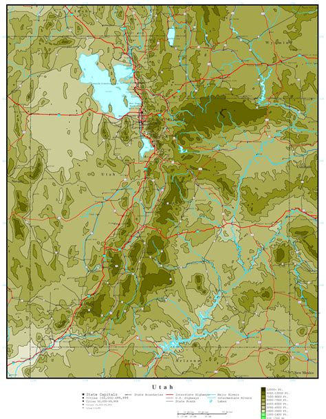 ut map utah elevation map