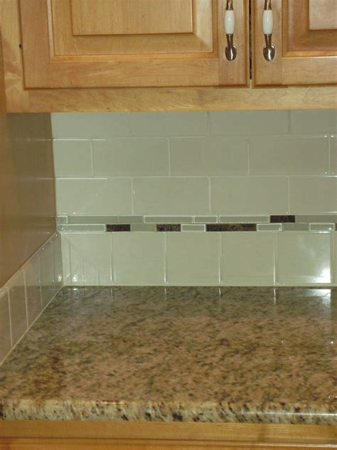 subway backsplash green glass subway tiles with small grey glass accent
