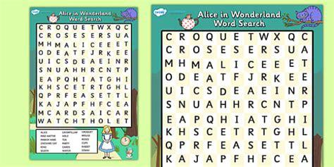 alice in wonderland printable word search alice in wonderland wordsearch alice in wonderland word