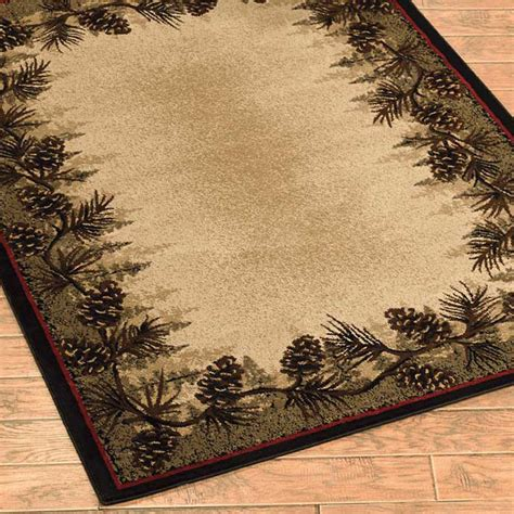 cabin rugs 8x10 pinecone forest border cabin rug 2x3 2x8 runner 4x6 5x8 8x10 beige green new ebay
