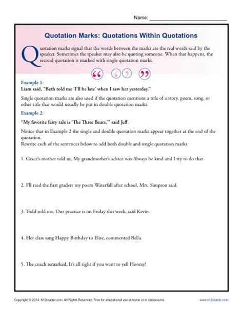 Quotation Marks Worksheets by Quotations Marks Worksheets Images