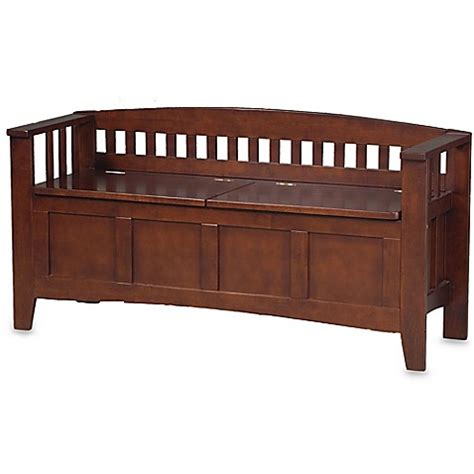 storage and seating benches wengate split seat storage bench www bedbathandbeyond com