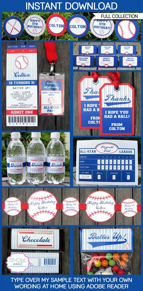 baseball party printables invitations decorations