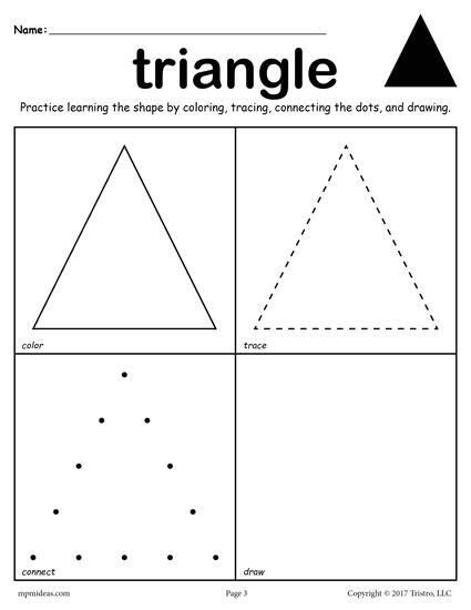 triangle printable worksheets for preschoolers 12 free shapes worksheets color trace connect draw
