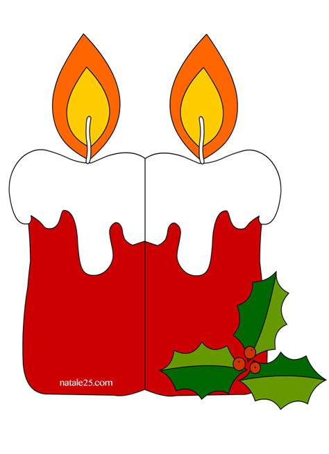 disegni di candele natalizie biglietto di natale con candela natale 25