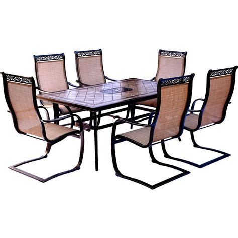 tile top patio table and chairs hanover monaco 7 aluminum outdoor dining set with