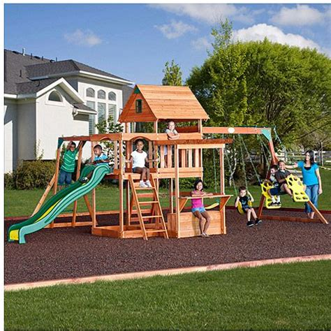 walmart kids swing set backyard discovery monticello cedar swing set