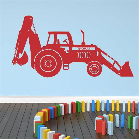digger wall stickers personalised tractor digger wall sticker by oakdene designs notonthehighstreet