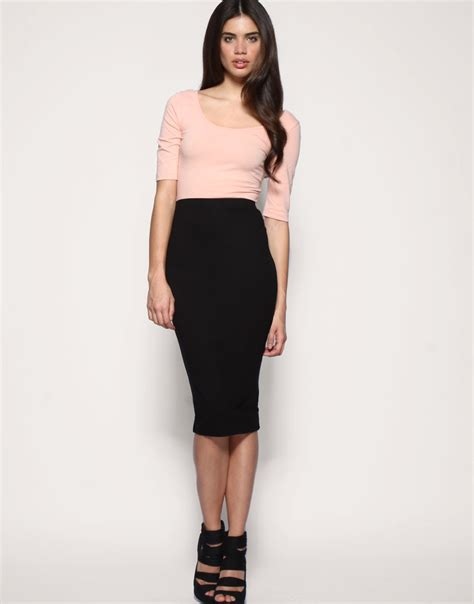 asos asos pencil skirt in jersey at asos