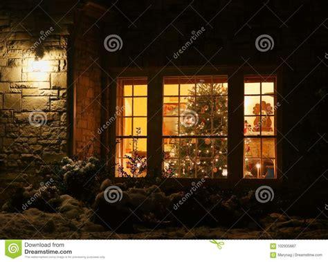home christmas tree stock image image  house