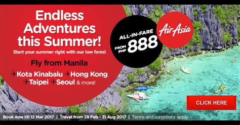 airasia promo airasia philippines summer time sale 2017