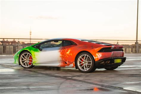 wrapped lamborghini lamborghini huracan wrapped in tricolor flames by print
