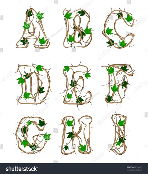 letters of the alphabet tree branches stock photo 88794037
