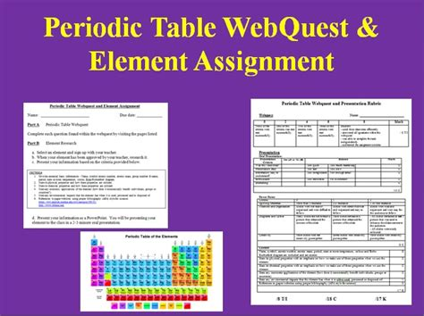 Periodic Table Webquest Answer Key by The Periodic Table Webquest Answer Key 008428195 1