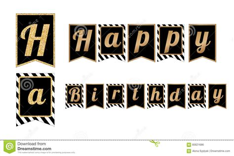 Banner Happy Birthday Black White happy birthday banners flags with stripes pattern stock vector image 85621686
