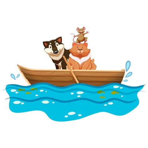 boat design clipart animals in a boat design vector free download