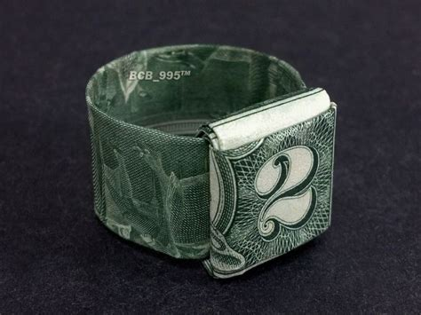 Two Dollar Bill Origami - 2 bill origami ring
