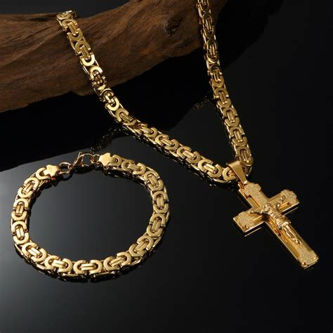 luxury mens  gold filled necklace chain cross pendant