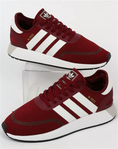adidas n 5923 trainers burgundy white iniki runner 70s shoes originals