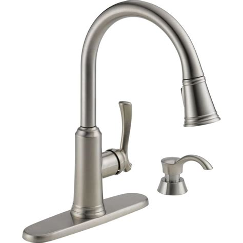 kitchen faucet with soap dispenser delta lakeview single handle pull sprayer kitchen
