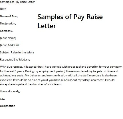 Raise Wage Letter pay rise request letter requesting a pay raise requires
