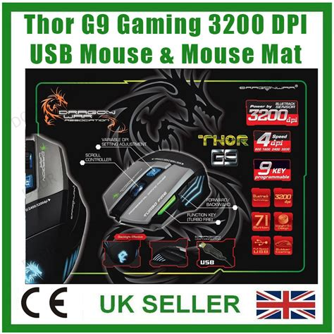 Mouse Thor G9 thor g9 usb gaming laser mouse with mouse mat 3200dpi 9