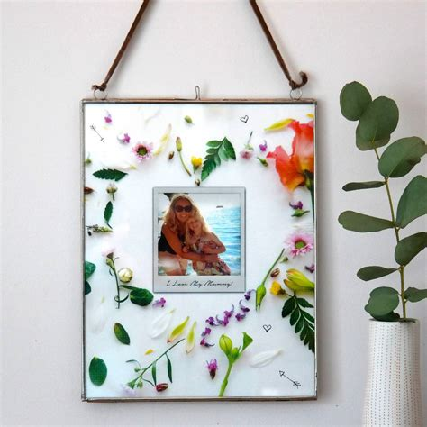 print hanging frame personalised floral heart photo hanging frame by pepper