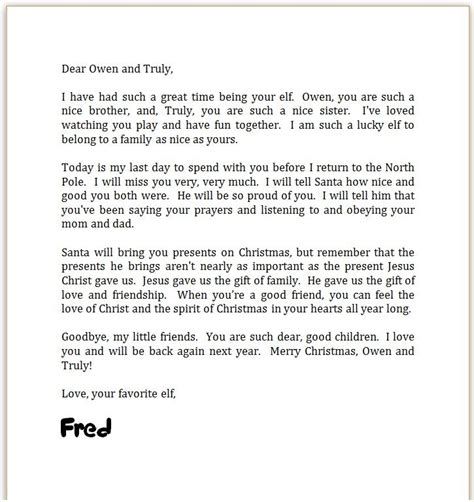 Letter From On A Shelf by On The Shelf Goodbye Letter On Shelf