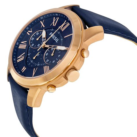 Fossil Fs 4835 Leather Blue Black Grade fossil s fs4835 grant chronograph home shopping