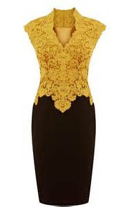 Golden yellow and black lace dresses for professional look women