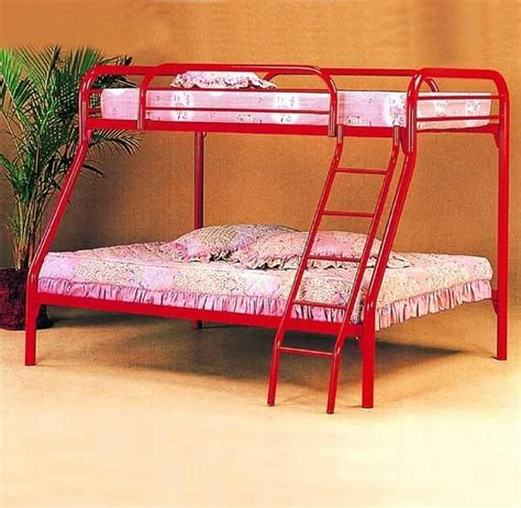 metal bunk bed twin over full yuan tai furniture metal bunkbed twin over full 2 red
