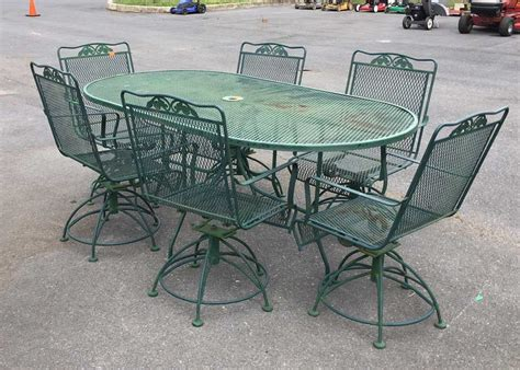 Iron Patio Table Set 7pc Wrought Iron Patio Table Set Green Color