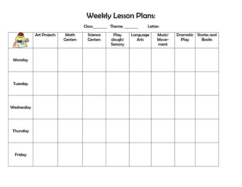 Best Photos Of Printable Weekly Preschool Lesson Plans Preschool Blank Lesson Plan Template Preschool Printable Activities Template