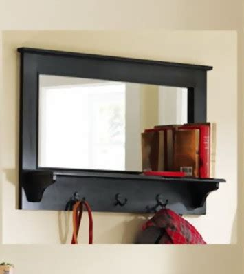 coat rack with mirror and shelf large entryway wooden wall mirror shelf and coat rack walnut 35 quot new ebay