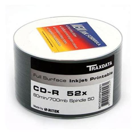 Dvd R Ritek By Toko Media traxdata cd r white inkjet printable surface 50 pack