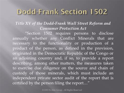 dodd frank act section 1502 conflict minerals in semiconductors